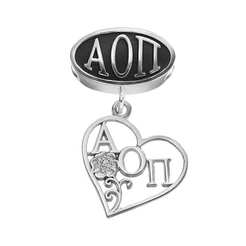 LogoArt Alpha Omicron Pi Sterling Silver Sorority Symbol Charm