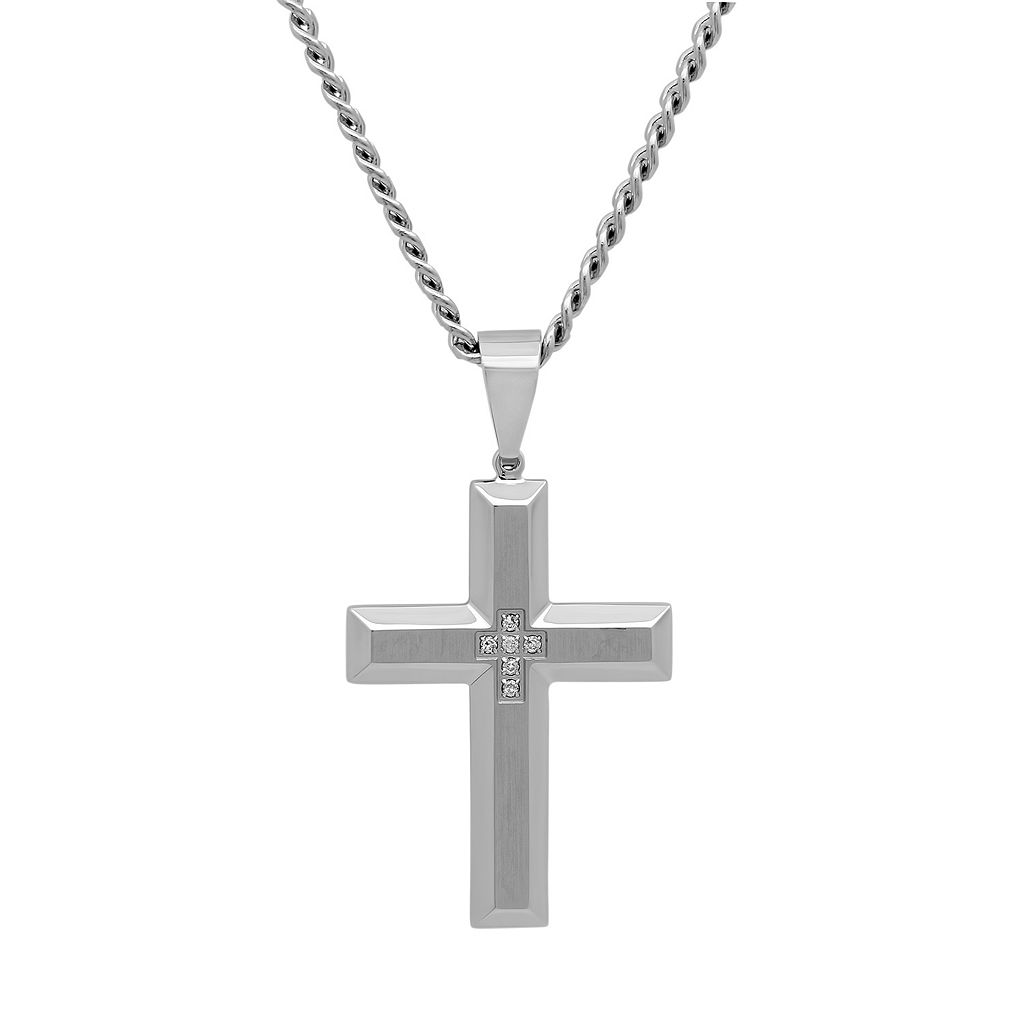 Diamond Accent Stainless Steel Cross Pendant Necklace - Men
