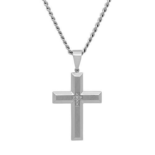 Diamond Accent Stainless Steel Cross Pendant Necklace - Men