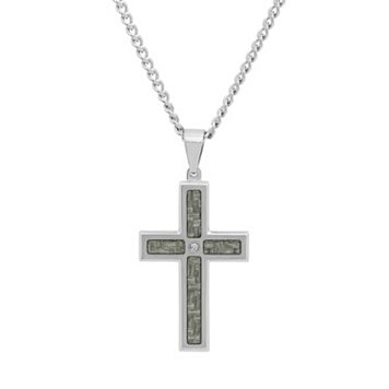 Diamond Accent Stainless Steel & Carbon Fiber Cross Pendant Necklace - Men