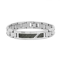 Diamond Accent Stainless Steel & Carbon Fiber Bracelet - Men