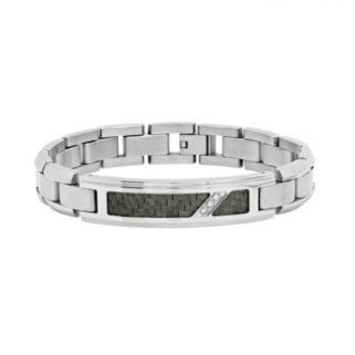 Diamond Accent Stainless Steel & Carbon Fiber Bracelet - Men