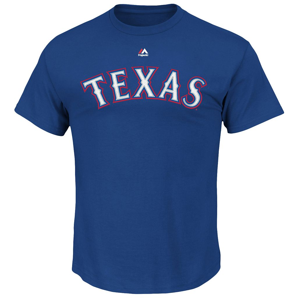 Men's Majestic Texas Rangers Joey Gallo Name and Number Tee
