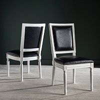 Safavieh Buchanon Faux Leather Rectangular Side Chair 2-Piece Set