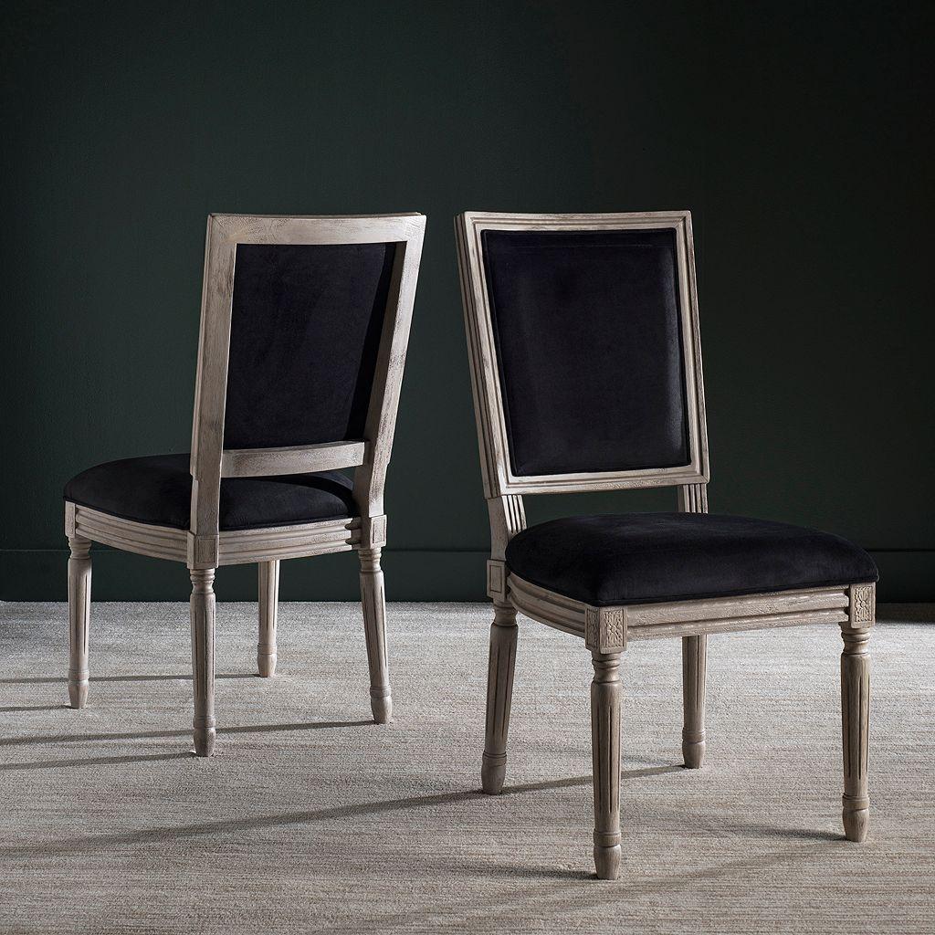 Safavieh Buchanon Velvet Rectangular Side Chair 2-Piece Set