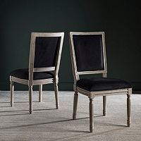 Safavieh Buchanon Velvet Rectangular Side Chair 2-Piece Set