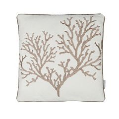 Galapagos Embroidered Coral Throw Pillow