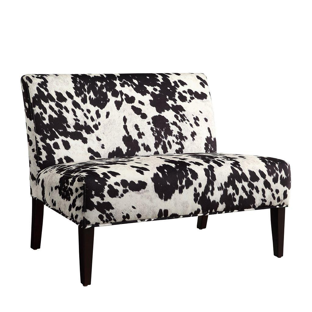 HomeVance Harris Cowhide Print Settee Chair
