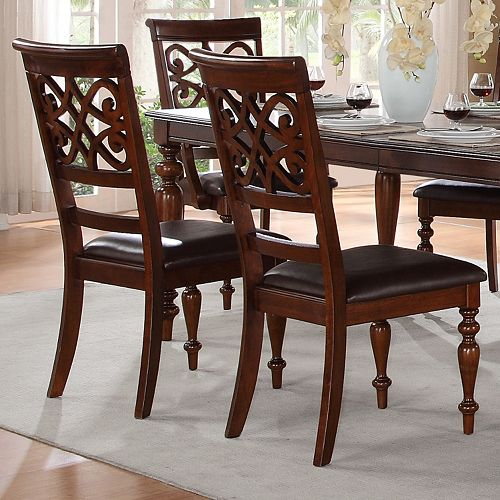 HomeVance 2-piece Fair Oaks Carved Dining Chair Set