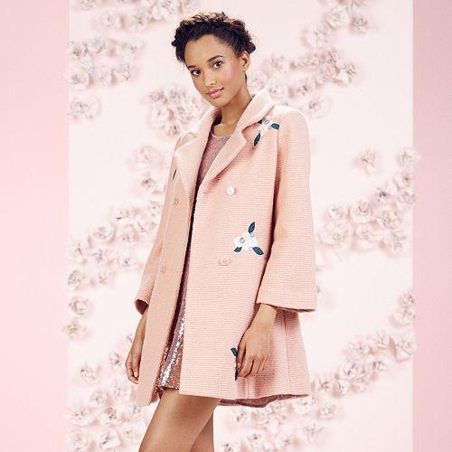 Women's LC Lauren Conrad Runway Collection Embroidered Wool-Blend Swing Coat