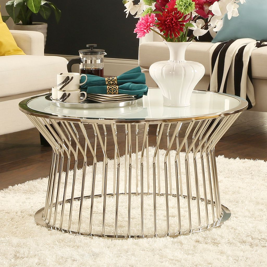 HomeVance Monte Vista Frosted Glass Coffee Table