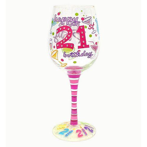 """Top Shelf """"Happy 21st Birthday"""" 15-oz. Wine Glass"""