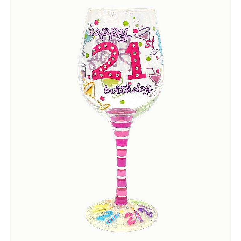 "Top Shelf ""Happy 21st Birthday"" 15-oz. Wine Glass, Multicolor"