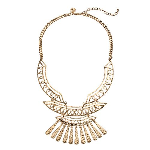 GS by gemma simone Sedona Sunset Collection Hammered Tribal Bib Necklace