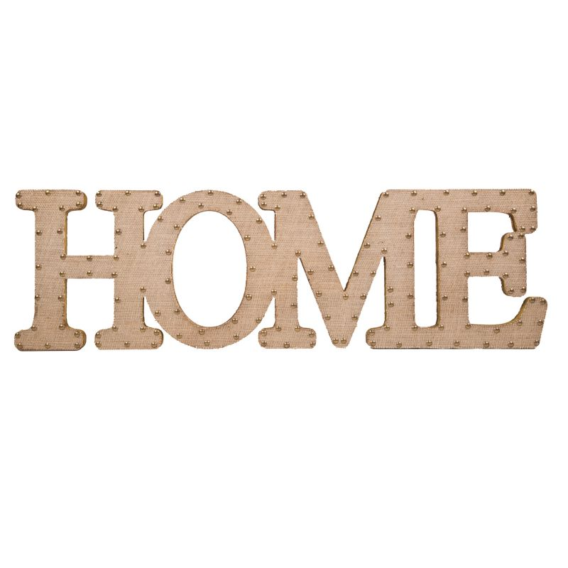"Home Essentials & Beyond ""Home"" Burlap Script Wall Decor, Beig/Green (Beig/Khaki)"