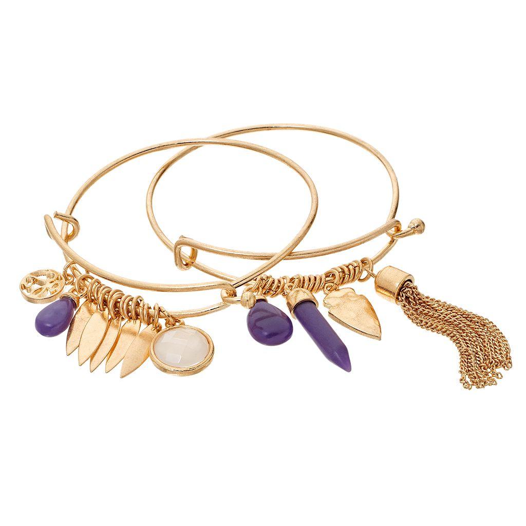 GS by gemma simone Earth Goddess Collection Bead & Charm Bangle Bracelet Set