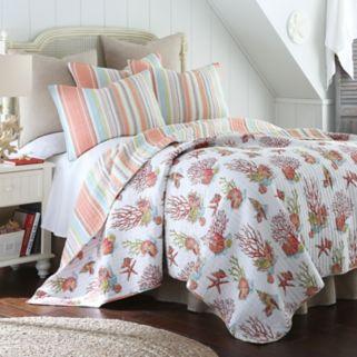 Brighton Coral Reversible Quilt Set
