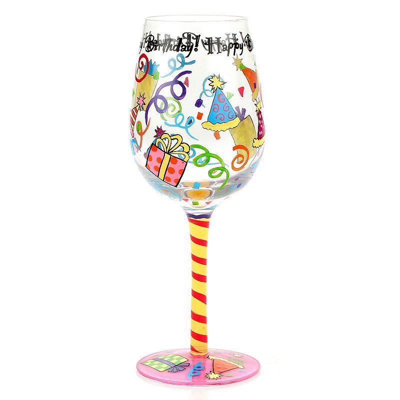 """Top Shelf """"Happy Birthday"""" 15-oz. Wine Glass, White"""