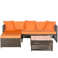 Safavieh Likoma Wicker 3 pc Outdoor Furniture Set