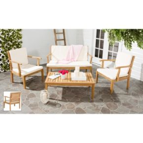 Safavieh Fresno Indoor / Outdoor Loveseat, Chair & Coffee Table 4-piece Set