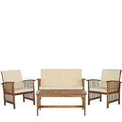 Safavieh Rocklin Indoor / Outdoor Loveseat, Chair & Coffee Table 4-piece Set