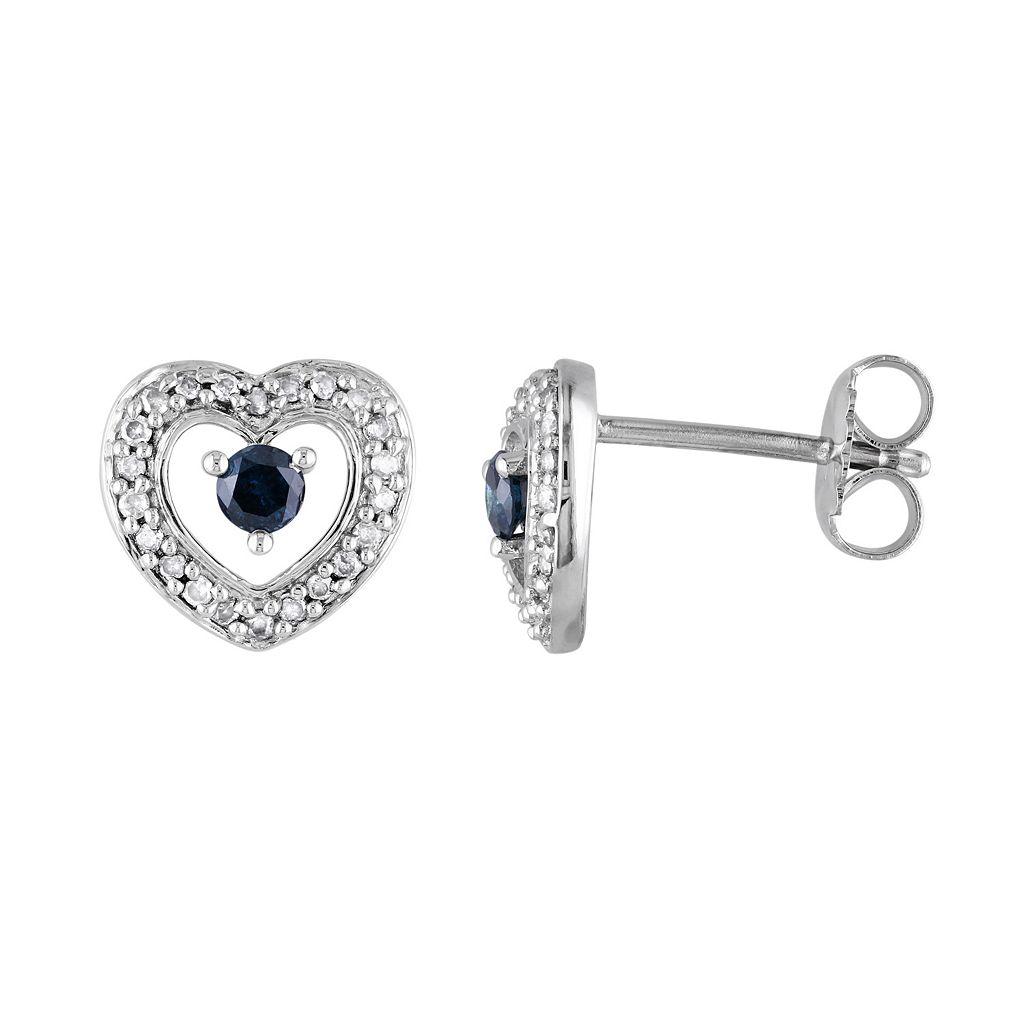 1/3 Carat T.W. Blue & White Diamond Sterling Silver Heart Stud Earrings