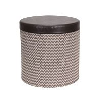 Household Essentials Chevron Collapsible Round Storage Ottoman