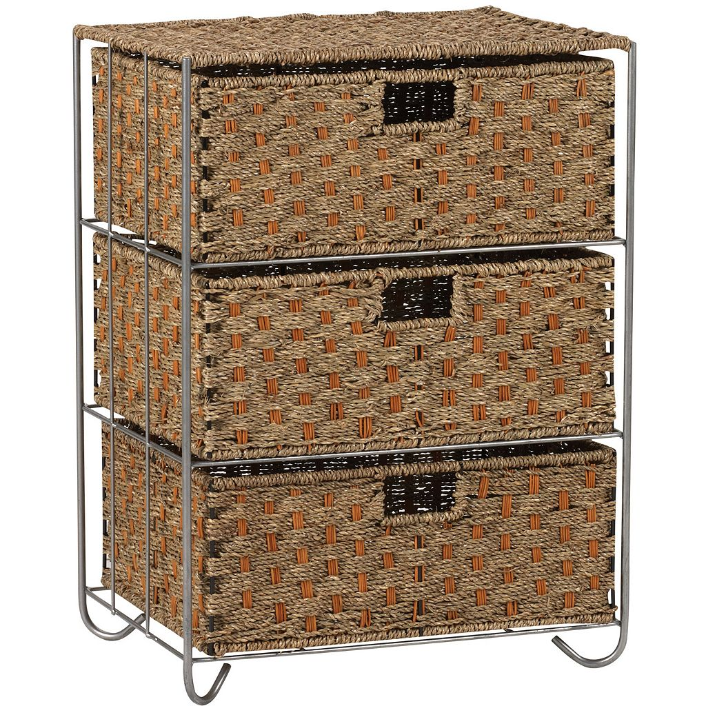 Household Essentials Seagrass Rattan 3-Drawer Chest