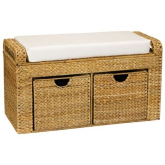 Household Essentials Banana Leaf 2-Drawer Storage Bench with Cushion