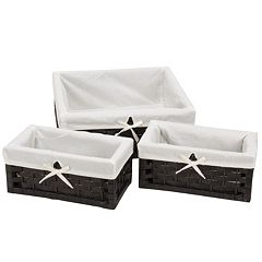 Household Essentials 3 pc Lined Paper Rope Utility Basket Set