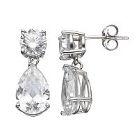 Cubic Zirconia Sterling Silver Drop Earrings