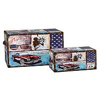 Household Essentials Classic Car Americana 2 pc Storage Trunk Set - Jumbo / Medium