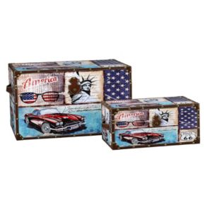 Household Essentials Classic Car Americana 2-pc. Storage Trunk Set - Jumbo / Medium