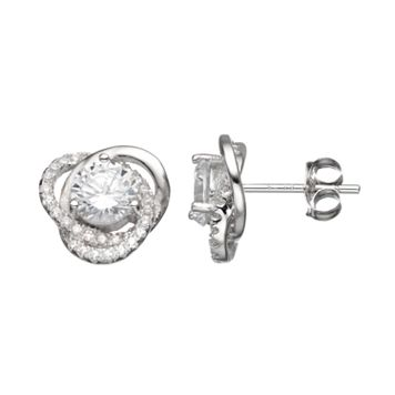 Cubic Zirconia Sterling Silver Love Knot Button Stud Earrings