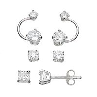 Sterling Silver Cubic Zirconia Stud & Drop Earring Set