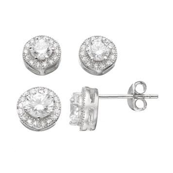 Sterling Silver Cubic Zirconia Halo Stud Earring Set