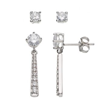 Sterling Silver Cubic Zirconia Stud & Drop Earring Set