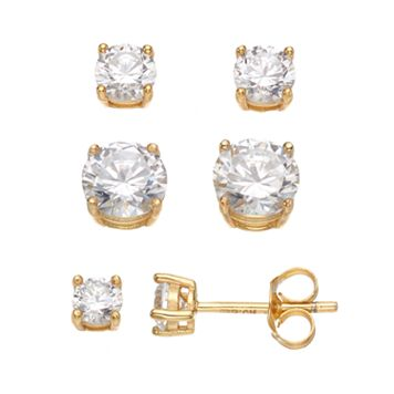 14k Gold Over Silver Cubic Zirconia Stud Earring Set