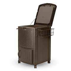 Suncast 77-Quart Wheeled Outdoor Wicker Cabinet Cooler