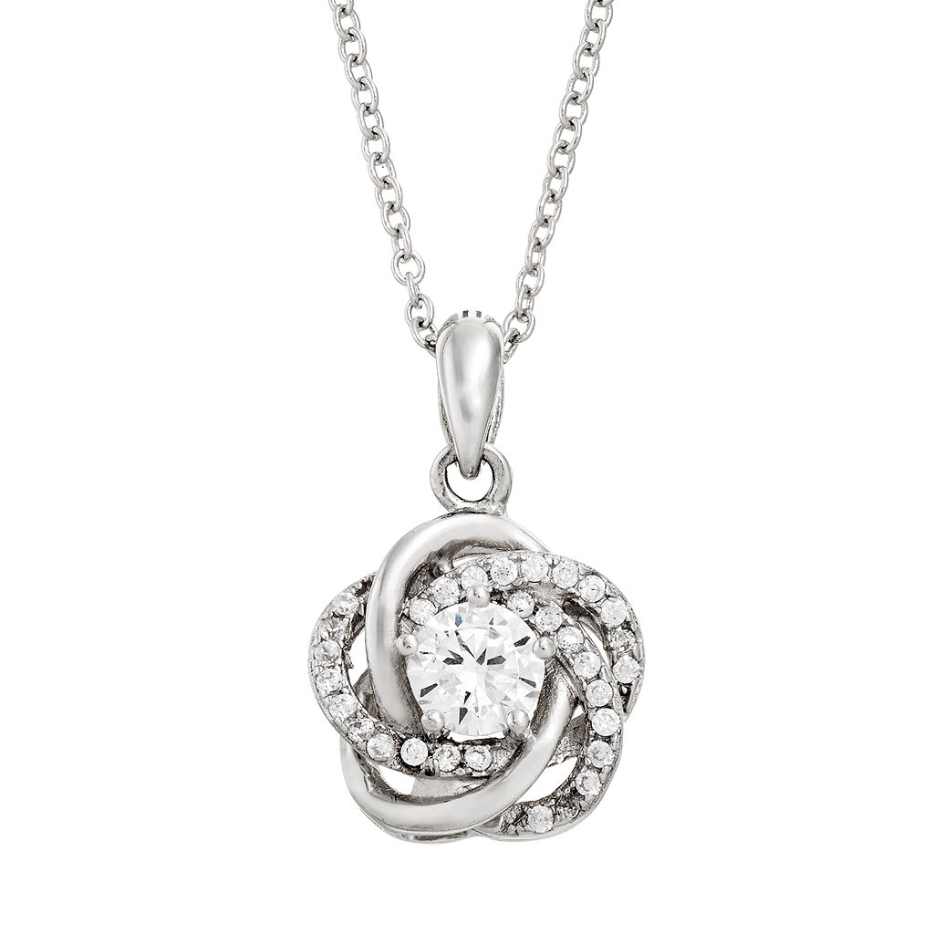 Cubic Zirconia Sterling Silver Love Knot Pendant Necklace