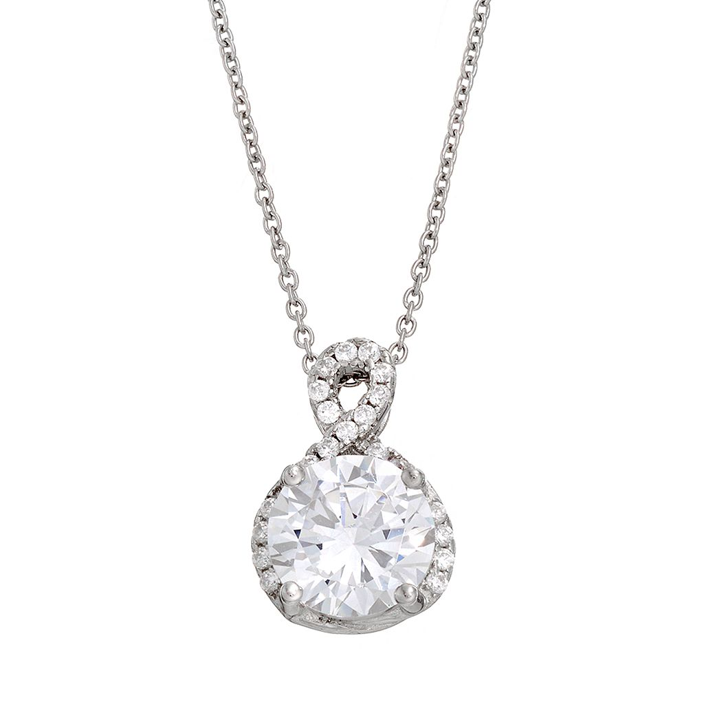 Cubic Zirconia Sterling Silver Pendant Necklace