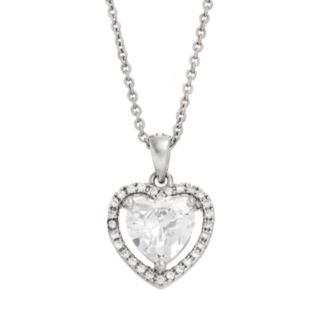 Cubic Zirconia Sterling Silver Heart Halo Pendant Necklace