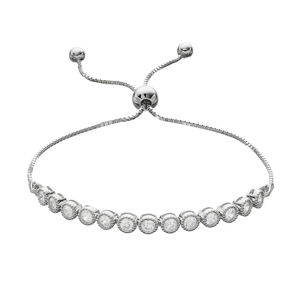 Cubic Zirconia Sterling Silver Lariat Bracelet