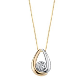 Sirena Collection 1/8 Carat T.W. Certified Diamond Two Tone 10k Gold Teardrop Pendant Necklace