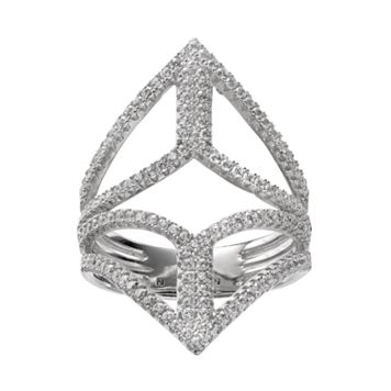 Cubic Zirconia Sterling Silver Openwork Marquise Ring