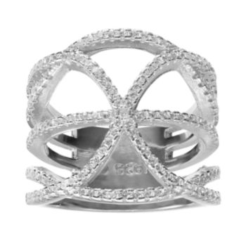 Cubic Zirconia Sterling Silver Crossover Ring