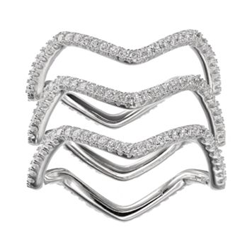 Cubic Zirconia Sterling Silver Wavy Ring Set