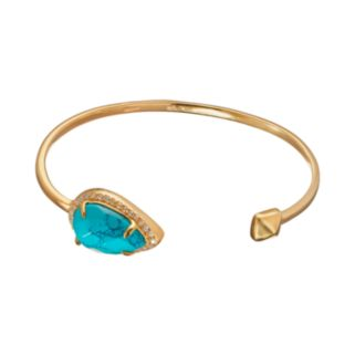 Turquoise & Cubic Zirconia 14k Gold Over Silver Cuff Bracelet