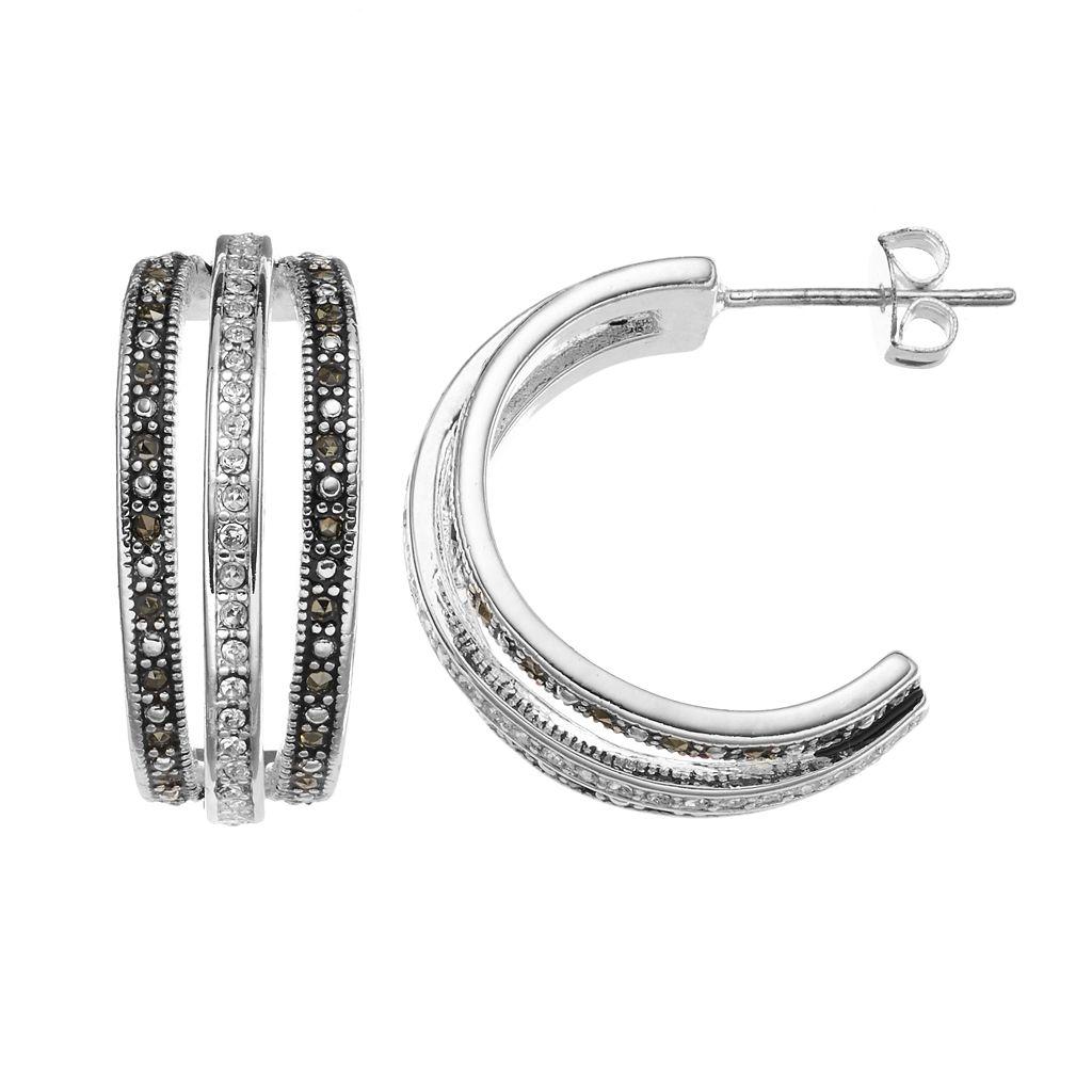 Silver Luxuries Silver-Plated Marcasite & Cubic Zirconia Hoop Earrings