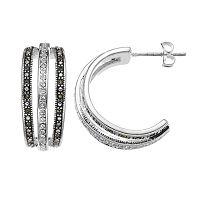 Silver Luxuries Silver-Plated Marcasite & Cubic Zirconia Hoop Earrings
